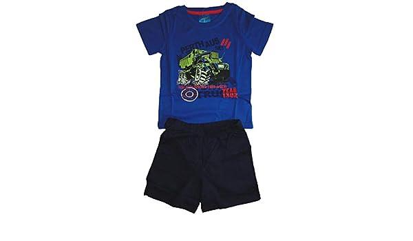 Fortoo Jungen Kurzarm Schlafanzug Auto LKW Kinder Pyjama Buben Shorty Jeep
