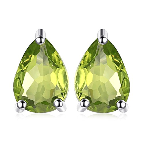 JewelryPalace Birne 1.6ct Natürliche grüne Peridot Birthstone Bolzen Ohrringe Solid 925 Sterling Silber