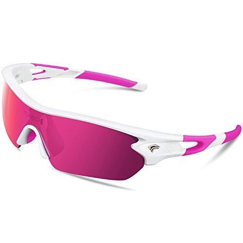 Gafas de sol deportivas polarizadas de Torege, con 5 lentes intercambiables para hombres y mujeres, aptas para ciclismo, carreras, conducción, pesca, golf, béisbol, TR002, White&Pink&Pink Lens