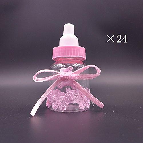 JZK® 24 x Botella de caramelo Rosado botella de caramelo botella de caramelo cajas de favor caja de caja de regalo para los favores, dulces, confeti, regalos y joyas para los niños