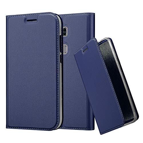 Cadorabo Hülle für Huawei G7 Plus / G8 / GX8 - Hülle in DUNKEL BLAU – Handyhülle mit Standfunktion und Kartenfach im Metallic Look - Case Cover Schutzhülle Etui Tasche Book Klapp Style