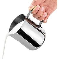 homiki 350ml Pot à Lait Acier Inoxydable pour Faire des Cappuccino avec Votre Machine pour Le Café la Mousse de Lait Bonne Aide pour Le Thé de l'après-midi