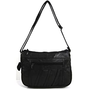 Womens Super Soft Nappa Leather Shoulder Bag / Handbag with Two Main Zipped Compartments (Black / Brown / Navy / Beige / Tan)