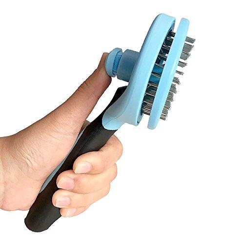 Selbst Reinigung Zupfbürste für Hunde und Katzen, PET Fell entfernt, Ausfallen Pflege Kamm für lange und dickes Haar