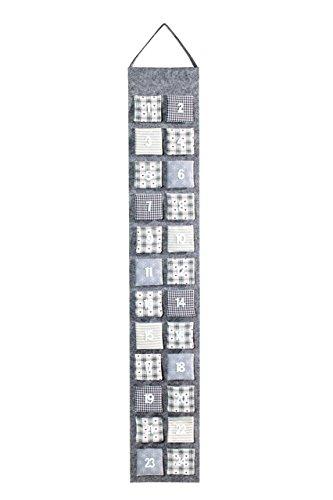 Heitmann Deco Adventskalender zum Aufhängen und selbst Befüllen - Filz-Adventskalender - Grau, Beige, Weiß (Kalender Unternehmen)