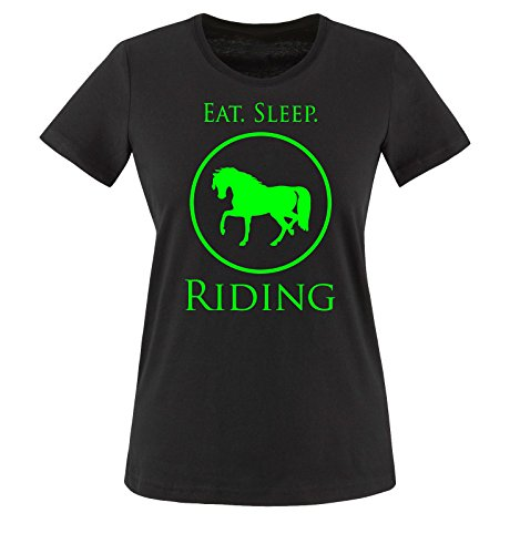Comedy Shirts - EAT. SLEEP. RIDING - Damen T-Shirt - Schwarz / Neongrün Gr. XXL (Jersey Sleeve Shirt Riding)