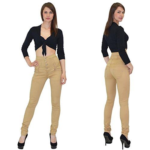 by-tex Jean femme skinny Jeans taille haute pantalon en jean femme J22 Camel