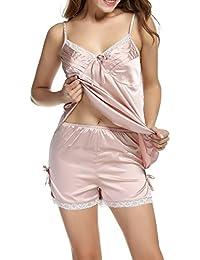 HOTOUCH Camisones para mujer pijamas verano de seda V-cuello ropa de dormir de dos piezas