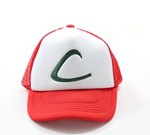 Kostüme Ash Halloween Pokemon (Pokemon Ash Hut Kappe Mesh Cap Ketchum Halloween Cosplay Costume)