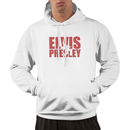 DONGLLY Men's Vintage Funky Hoodie Sweatshirt Elvis Presley White M -