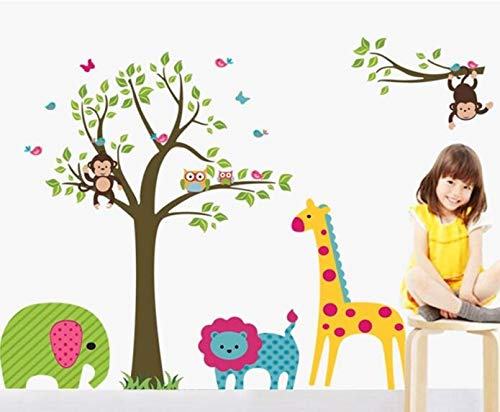 XCGZ Wandsticker Eule Baum Giraffe Vinyl Wandaufkleber Kinder Baby Kinder Dekor Home Wandpapier Aufkleber Deco Kunst Aufkleber