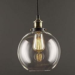 Glass Pendant Light, Lantu Creative Vintage Industrial Metal Finish Clear Glass Ball Round Shade Loft Pendant Lamp Retro Ceiling Light Vintage Lamp