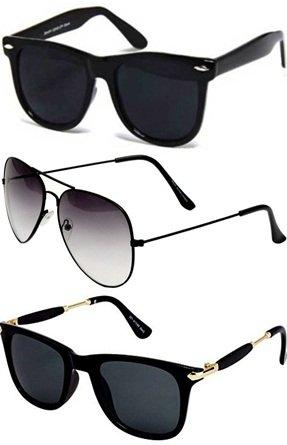 Sheomy UV protected Unisex Sunglasses(3IN1-0018 Black) - Pack of 3
