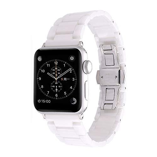 Aottom für Apple Watch Armband 38mm Keramik Weiß,Armband Apple Watch Series 4 40mm Armbänder iWatch 38mm Ersatzband Smartwatch Apple Watch Series 3 Sport Band mit Metallschließe für Apple Watch 38mm