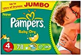 Pampers Baby Dry Größe 4 Maxi 7-18kg Jumbo Plus Pack (2 x 78 Windeln) 156 Windeln