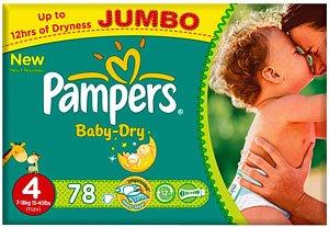 Preisvergleich Produktbild Pampers Baby Dry Größe 4 Maxi 7-18kg Jumbo Plus Pack (2 x 78 Windeln) 156 Windeln