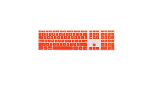 DealMux Silicone Wire Keyboard Protector Film Cover w Numeric Keypad Orange for Apple iMac