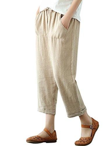 Youlee Damen Sommer Elastische Taille Leinenhose Khaki