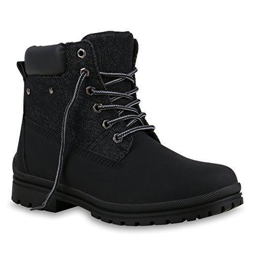 UNISEX Damen Herren Stiefeletten Worker Boots Outdoorschuhe Schnürstiefel Schwarz Jeans