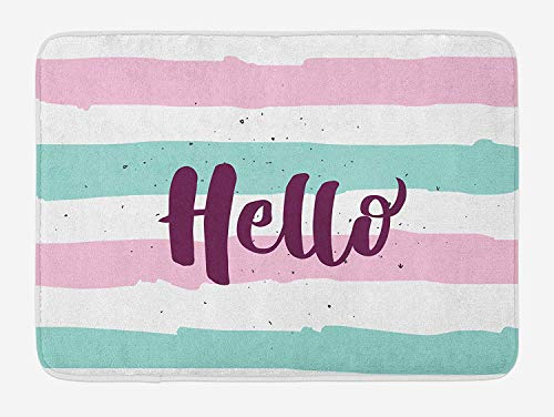 Pastel Colored Lines with Calligraphic Design Hand Letter Print, Plush Bathroom Decor Mat with Non Slip Backing, 31.69 X 19.88 Inches, Pink Eggplant Almond Green ()