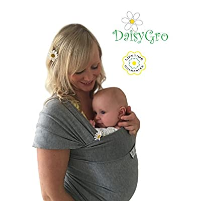 •SALE!• DaisyGro® Premium Baby Sling Carrier | 2 SIZE OPTIONS | Baby Wrap | Newborns, Infants, Toddlers | Breastfeeding Cover | Breathable Soft Cotton | Grey | Ideal Gift