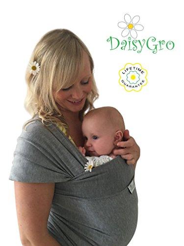 •NEUE DEUTSCHE VERÖFFENTLICHUNG!• DaisyGro™Premium Baby Tragetuch | 2 GRÖSSEN OPTIONEN | Baby Wickeltuch | Neugeborene, Säuglinge, Kleinkinder | atmungsfähige Baumwolle | grau | Ideales Geschenk