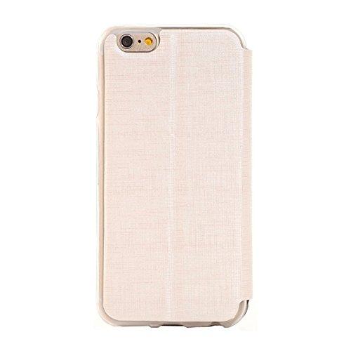 wkae Schutzhülle Fall & Plaid Textur Leder Case mit Halter und Call Display ID für iPhone 6& 6S weiß