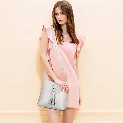 S-ZONE Donne Piccola borsa in vera pelle trasversale con sacchetto di spalla in pelle viva (Ivory) Bianco