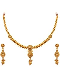 0ea49dbef MEENAZ One Gram Kundan Pearl Gold Pendant Necklace   Earrings Set For Women