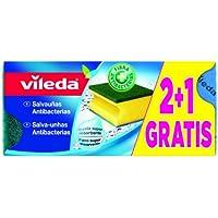 Vileda - Estropajo Salvauñas 2 + 1, 3 unidades, estropajo antibacterias multisuperficie, doble uso, color amarillo