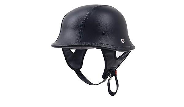Original German Style Black Leather Half Helmet Motorcycle Chopper Cruiser Biker Helmet Dot FMVSS 218 Standard Adult
