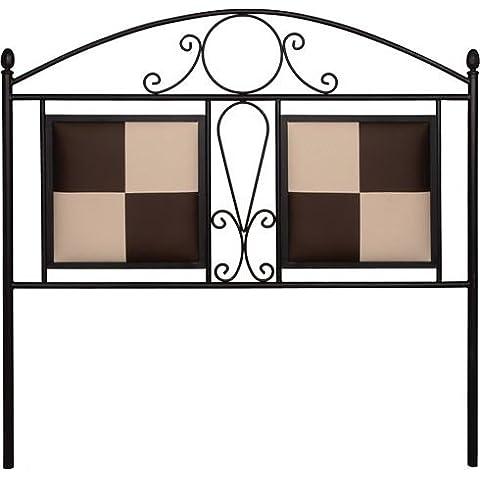 HOGARES CON ESTILO - Cabecero de forja nacional y polipiel Duero, color Plata para cama de 150 cms, (Varios colores y medidas