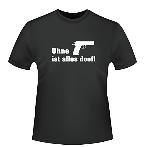 Ohne Pistole ist alles doof!, Herren T-Shirt - Fairtrade - ID104860 Schwarz
