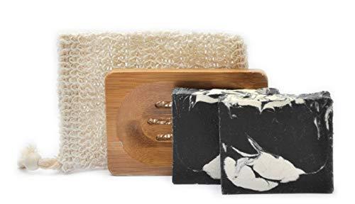 Mijo Naturkosmetik Geschenkset für Frauen, Männer, Beauty Pflegeset, 2 handgemachte Naturseifen ohne Palmöl mit Sheabutter, Olivenölseife, vegan, Seifenzubehör Geschenk Badeset Schwarze Seife