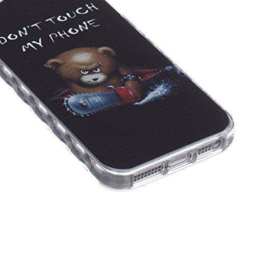 Trumpshop Smartphone Case Coque Housse Etui de Protection pour Apple iPhone 5/5s/SE + Don't Touch My Phone + Flexible Ultra Mince Silicone TPU Gel avec Absorption de Choc + 3 Cadeaux Don't Touch My Phone Ourson