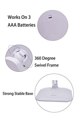 Harcas Schminkspiegel mit Lampen. Kosmetikspiegel mit LED-Beleuchtung und 10X Vergrößerung. Ideal zum Schminken, Rasieren, Zähneputzen, Augenbrauenzupfen und für das Badezimmer oder zum Reisen. Weiß - 4