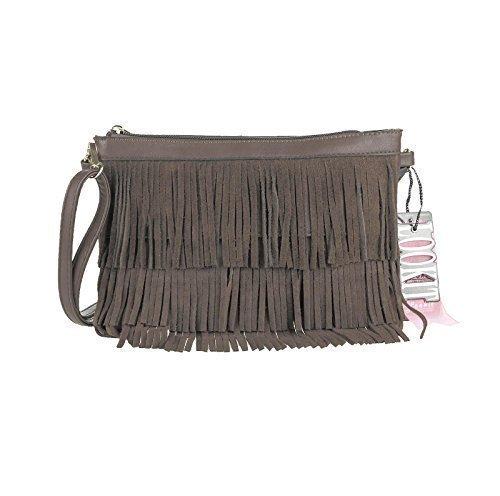 OBC ital-design Damentasche Fransen Tasche Schultertasche Umhängetasche Abendtasche Clutch CrossOver (Taupe)