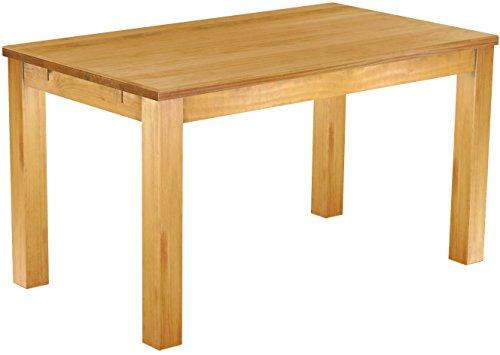 Massivholztisch 140 x 80 cm Massivholz in Honig hell - Esszimmermöbel Esszimmertisch Schreibtisch - vollmassive Platten - Plantagenholz