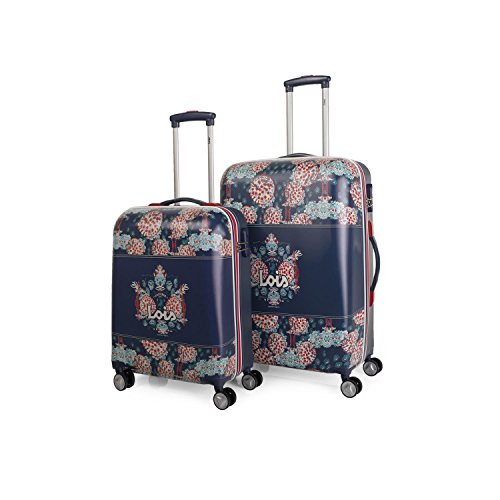 LOIS - 55800 SET 2 TROLLEYS POLICARBONATO, Color Marino