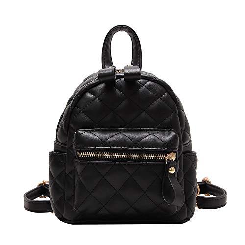 YZJLQML DamentascheCasual Wild Stickgarn Rautenrucksack Studentenrucksack, schwarz