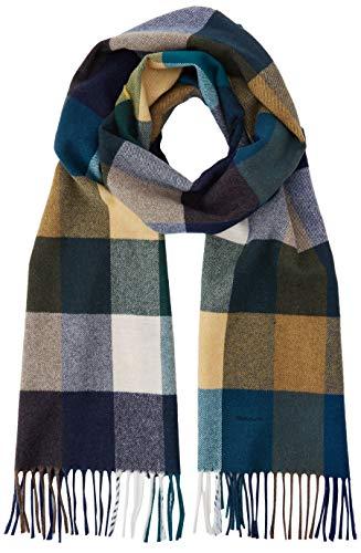 GANT Herren D2. Multi Check Wool Scarf Schal, Blau (Atlantic Deep 328), One Size (Herstellergröße: Oversize)