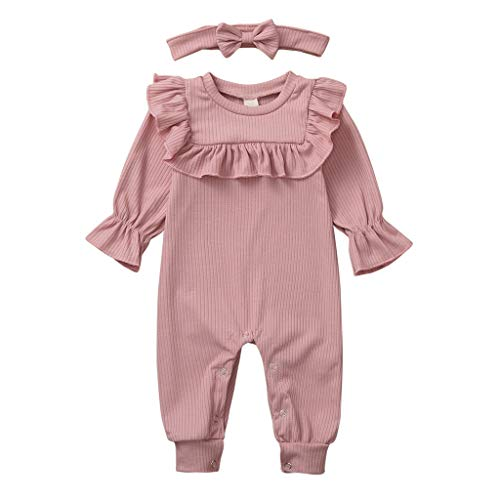 Livoral Neugeborenes Baby Jungen Mädchen solide Rüschen Strampler Overall Stirnband Outfits Set(Rosa,18-24 Monate)