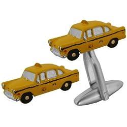 Gemelos de metal bañado en rodio para novios taxistas
