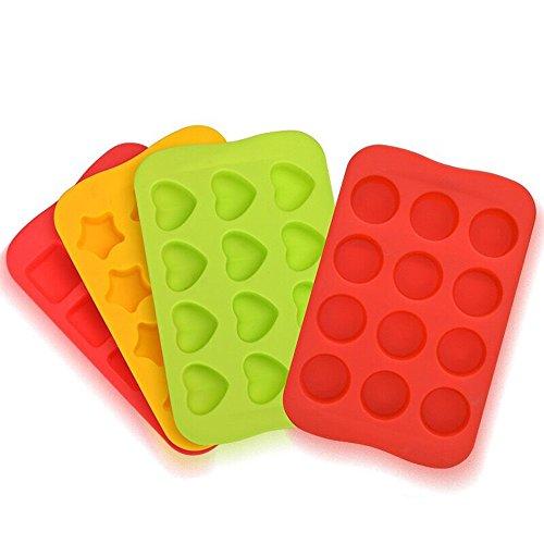 4vassoi in silicone, stampini per cioccolatini, cubetti di ghiaccio o caramelle, biscotti o dolci, a forma di cuori e stelle