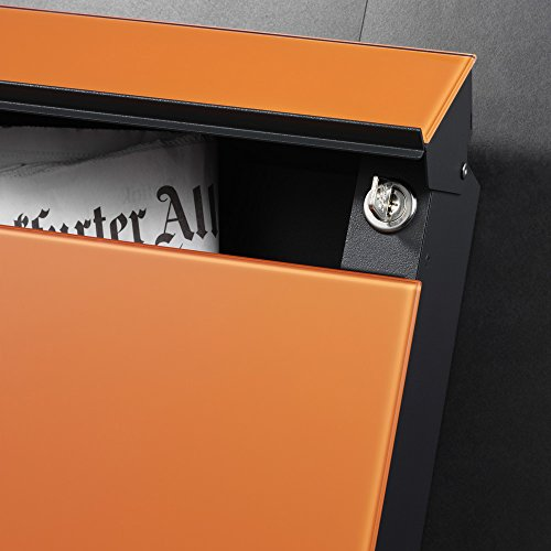 Serafini Briefkasten Flat aus Stahl Korpus schwarz Front Glas grau (DB 703) - 3