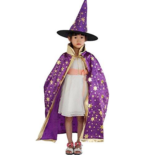 (Rosennie Kinder Halloween Kostüm Zauberer Hexe Umhang Kap Schwarz Robe und Hut Glanz Kleid Mädchen Weihnachten Verkleidung Karneval für Jungen Mädchen Party Halloween Fest (Lila, Free))