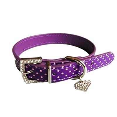 Hmeng Hundehalsband, Hunde Katze Welpen Wasserdichte Heart Strass Halsband Halsbänder Einfarbig Verstellbar Leather Buckle Halskette für Haustier Hunden Katzen
