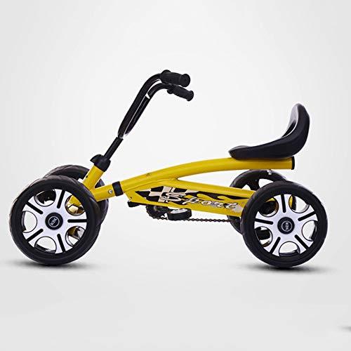 MEILA Kinder-Kart-Vierrad-Fahrrad-Quadrat-Verleih Spielen Anti-Rollover-2 bis 8 Jahre altes Kind toyTrike Easy Clip und tragbaren Kinderwagen (Color : Yellow)