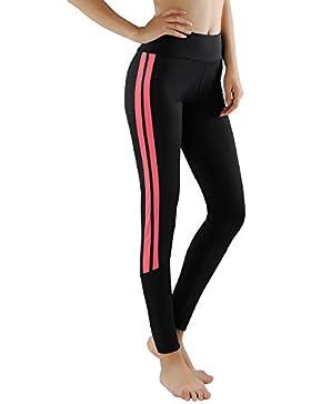 GoVIA Leggings Damen Laufhose Luftdurchlässige Trainingshose Sporthose Yogahose Fitness Yoga High Waist Lang Streifen...