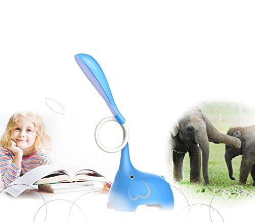 HAGDS Karikatur-Elefant-LED-Augen-Kindertischlampe USB-wieder aufladbarer Kursteilnehmer lernen, Nachtschreibtisch-kreative Lampe zu lesen (Farbe : Blau)